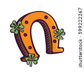 horseshoe. symbol of st patrick'... | Shutterstock .eps vector #599222267