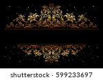 decorative golden frame with... | Shutterstock . vector #599233697