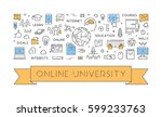 vector line concept for online... | Shutterstock .eps vector #599233763