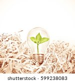 light bulb with green tree... | Shutterstock . vector #599238083