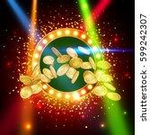 jackpot banner. gold coins in... | Shutterstock .eps vector #599242307