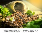 coffee beans with real coffee... | Shutterstock . vector #599253977