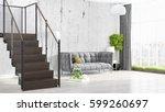 modern bright interior . 3d... | Shutterstock . vector #599260697