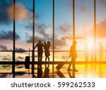 young travelers dragging... | Shutterstock . vector #599262533