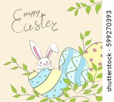 easter card with eggs  rabbit ... | Shutterstock .eps vector #599270393