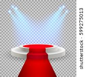 red carpet with round podium.... | Shutterstock .eps vector #599275013