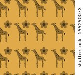 pattern with repeated giraffe... | Shutterstock .eps vector #599290073