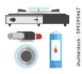 portable gas burner nozzle for... | Shutterstock .eps vector #599295467
