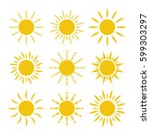 sun icon set | Shutterstock .eps vector #599303297