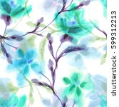 watercolor flowers seamless... | Shutterstock . vector #599312213