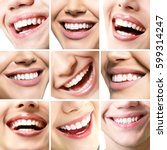 beautiful smiles set. perfect... | Shutterstock . vector #599314247