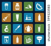 bottle icons set. set of 16... | Shutterstock .eps vector #599323583