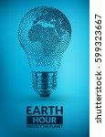earth hour design   light bulb... | Shutterstock .eps vector #599323667