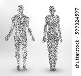 abstract molecule based human... | Shutterstock .eps vector #599324597