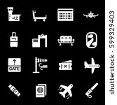 vector white airport icons set | Shutterstock .eps vector #599329403