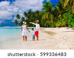 family with child walking on... | Shutterstock . vector #599336483