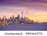 downtown manhattan skyline at... | Shutterstock . vector #599342573