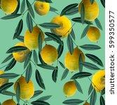 lemons seamless pattern. raster ... | Shutterstock . vector #599350577