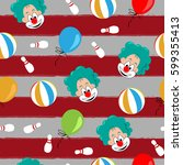 seamless patterns  with clown... | Shutterstock .eps vector #599355413