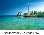 Beautiful beach and lighthouse in SriLanka