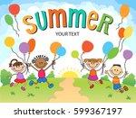 children are jumping ob summer... | Shutterstock .eps vector #599367197
