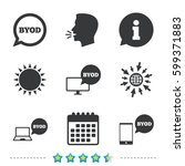 byod icons. notebook and... | Shutterstock .eps vector #599371883