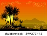 exotic landscape  tropical... | Shutterstock . vector #599373443
