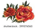 orange watercolor  roses ... | Shutterstock . vector #599376563