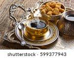 coffee in the oriental style... | Shutterstock . vector #599377943