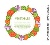 round vegetable frame isolated... | Shutterstock .eps vector #599380313