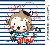 cute cartoon monkey boy wearing ... | Shutterstock .eps vector #599388947