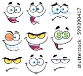 cartoon funny face with... | Shutterstock . vector #599390417