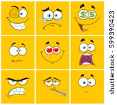 yellow cartoon square emoticons ... | Shutterstock . vector #599390423