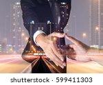 double exposure of businessman...   Shutterstock . vector #599411303