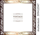vintage gold photo frame with... | Shutterstock .eps vector #599413547