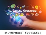concept view of man holding... | Shutterstock . vector #599416517