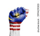malaysia national flag painted...   Shutterstock . vector #599429303