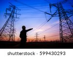 electricity workers and pylon... | Shutterstock . vector #599430293