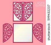laser cut wedding invitation or ... | Shutterstock .eps vector #599432237