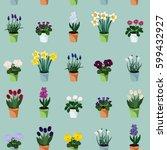 Spring Flowers In Flowerpots  ...