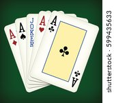 five of a kind   aces and joker ... | Shutterstock .eps vector #599435633