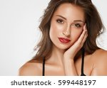 beautiful girl skin tanned red... | Shutterstock . vector #599448197