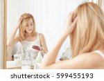 young woman with hair loss... | Shutterstock . vector #599455193