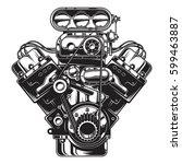 isolated monochrome... | Shutterstock .eps vector #599463887
