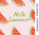 hello summer pattern with... | Shutterstock . vector #599467793