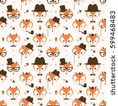 pattern with cute hipster foxes ... | Shutterstock . vector #599468483