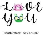 cute cats slogan artwork vector | Shutterstock .eps vector #599473307