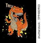 A Vector Art Trex Dinosaur On...