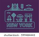 new york city  vector flat... | Shutterstock .eps vector #599484443