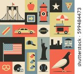 new york city  vector flat... | Shutterstock .eps vector #599484473